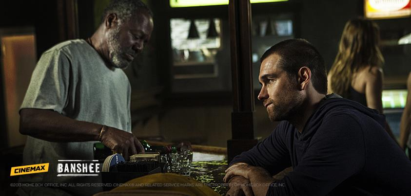 Frankie Faison and Antony Starr have a drink in 'Banshee'.